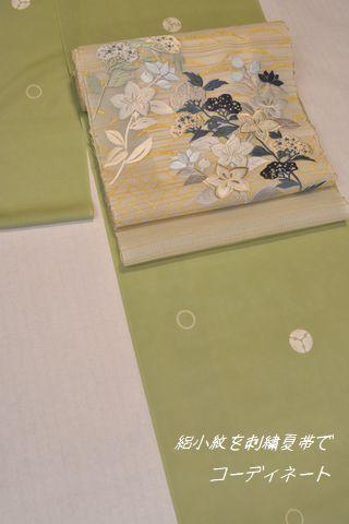 絽小紋を刺繍の夏帯でコーディネート