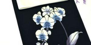 黒地の胡蝶蘭の浴衣をコーディネート