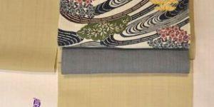 夏塩沢紬を琉球紅型の帯でコーディネート