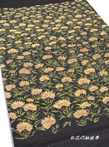 紅花紬の袋帯