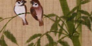 手描きの「竹に雀」タペストリー