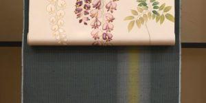 牛首紬を藤の帯でコーディネート