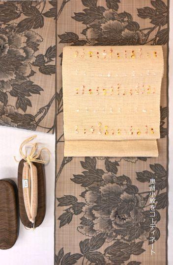 奥州小紋に紬帯で単衣の装い