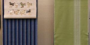 織りの牛首紬をコーディネート