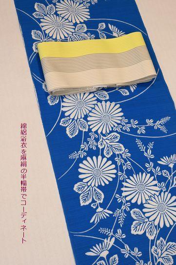 竺仙さんの綿絽浴衣を麻絹の半幅帯でコーディネート