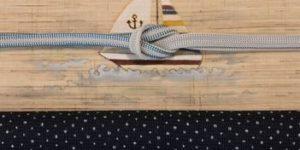 絹紅梅小紋をヨット柄の帯でコーディネート