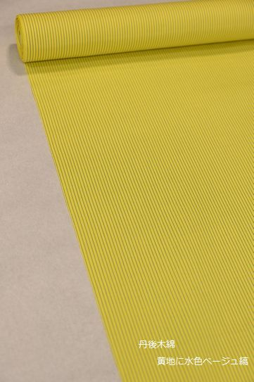 丹後木綿/黄色に水色ベージュ縞